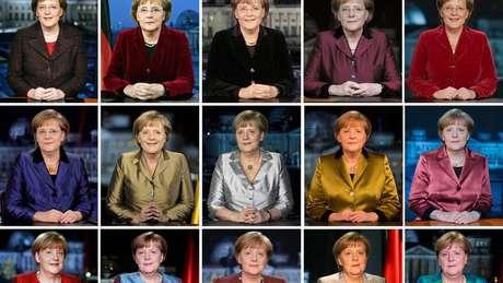 A primeira-ministra em discursos de Ano Novo entre 2005 e 2019: era Merkel acaba no fim de 2021