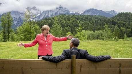 Merkel e o ex-presidente americano Barack Obama: imagem internacional da chanceler se consolidou como a de líder forte