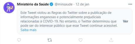 Publicação do Ministério da Saúde no Twitter sobre suposto 'tratamento precoce' para a covid-19 é marcada pela plataforma como 'potencialmente prejudicial'