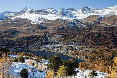 Vista aérea de St. Moritz, na Suíça