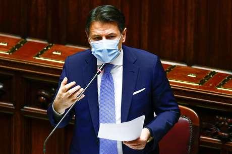 Premiê italiano, Giuseppe Conte, no Parlamento em Roma  18/1/ 2021 REUTERS/Guglielmo Mangiapane/Pool