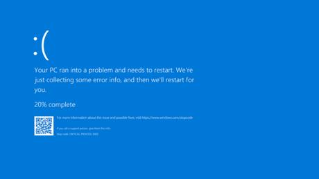 Tela azul da morte (Imagem: Reprodução/Windows)