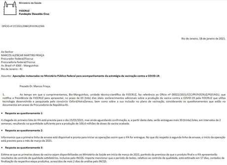 Em ofício, Fiocruz prevê entrega das primeiras doses da vacina ao Ministério da Saúde somente em março