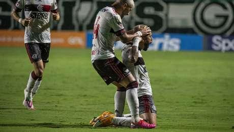 Gabigol comemora gol na vitória sobre o Goiás (Foto: Alexandre Vidal/Flamengo)