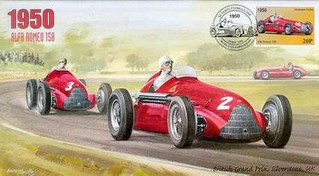 Selo comemorativo para o primeiro GP da história da Fórmula 1 trazia carros da Alfa Romeo em destaque.