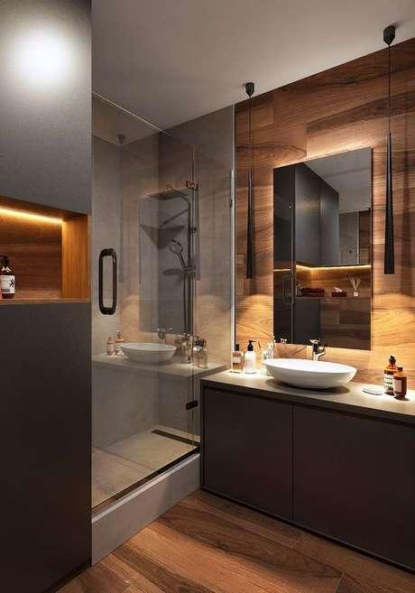 39. Soluções para banheiro sem janela – Via: Pinterest