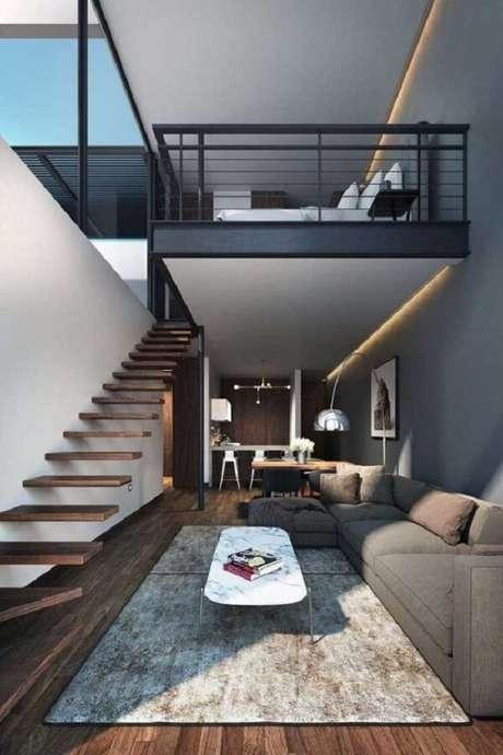 14. A escada flutuante traz sofisticação para esse projeto de casa com mezanino. Fonte: Pinterest