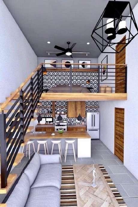 23. Casa com mezanino com decoração estilo industrial. Fonte: Pinterest