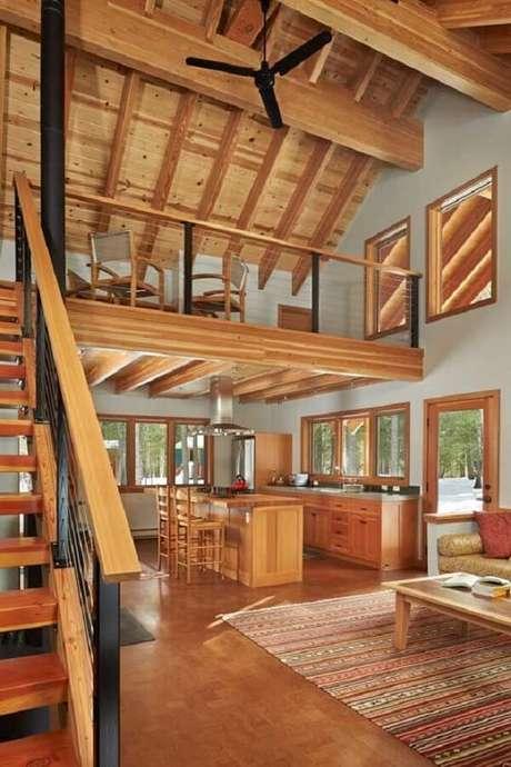 34. Decoração aconchegante e acolhedora nesse projeto de casa com mezanino. Fonte: Lawrence Architecture