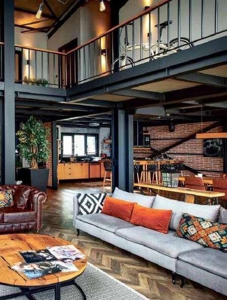 1. Modelo de casa com mezanino com estrutura metálica. Fonte: Pinterest
