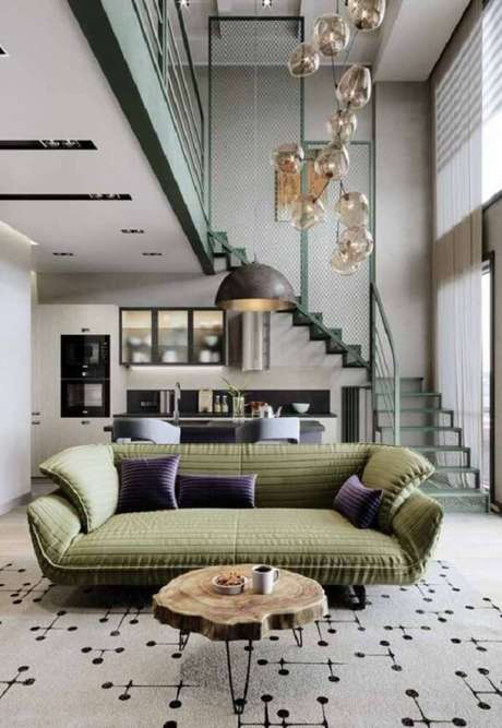 65. Projeto de casa com mezanino aberto sobre a sala de estar. Fonte: Pinterest