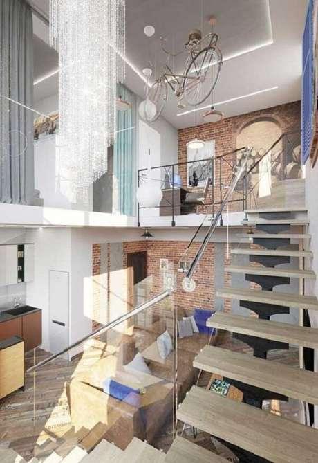 66. Projeto de casa com mezanino com pegada industrial e moderna. Fonte: Pinterest