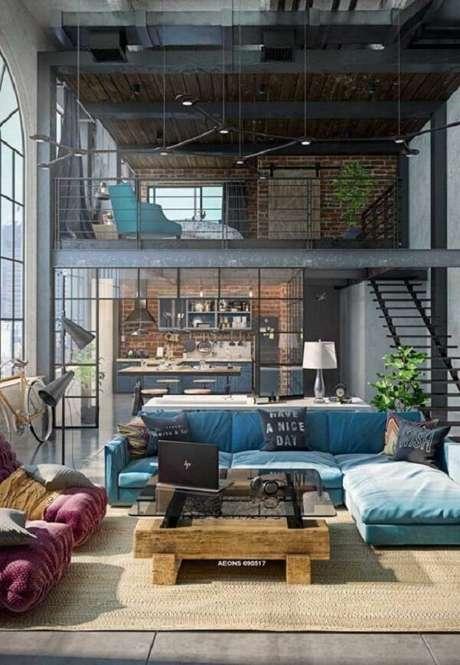 8. Projeto de casa térrea com mezanino de estilo moderno e industrial. Fonte: Pinterest