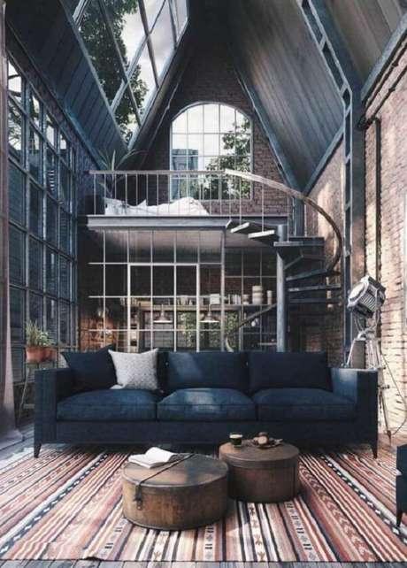 70. Projeto de casas com mezanino simples onde o quarto fica no andar superior. Fonte: Pinterest