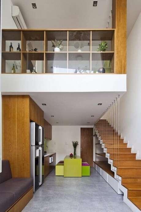 71. Se inspire no layout de loft para deixar sua casa com mezanino interno mais moderna. Fonte: Pinterest