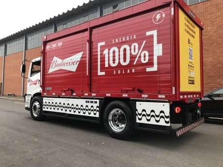 Caminhão elétrico feito pela FNM para a fabricante de bebidas Ambev.