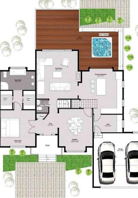 51. Planta de sobrado com jardim e garagem – Via: Pinterest