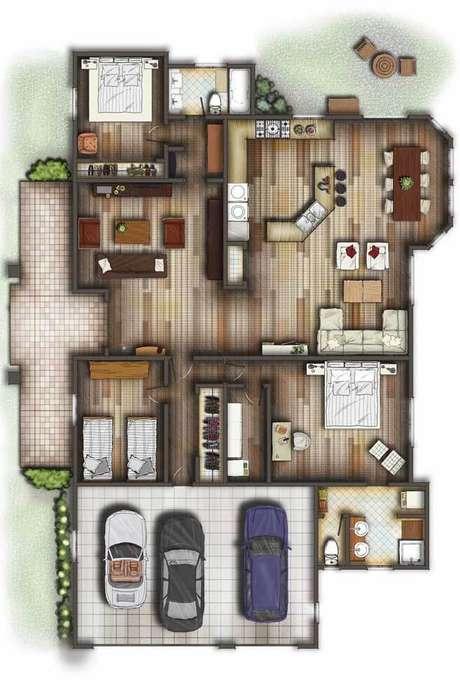 53. Planta de sobrado com móveis planejados – Via: Pinterest