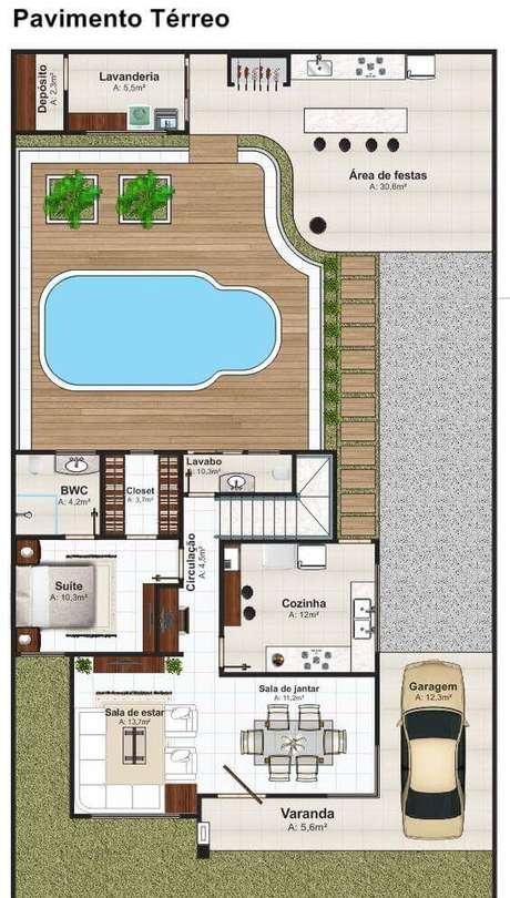 58. Planta de sobrado com piscina e varanda charmosa – Via: Pinterest