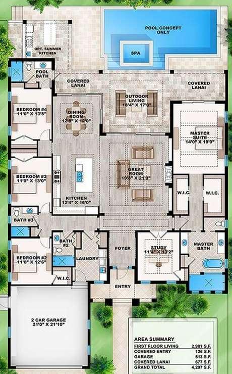 59. Planta de sobrado com piscina – Via: Best House Plans