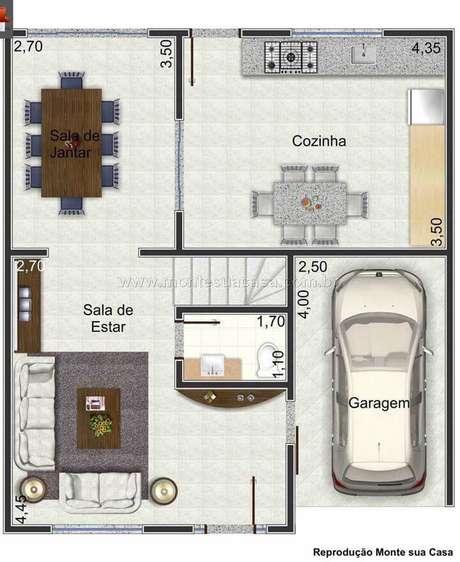 54. Planta de sobrado simples e compacto – Via: Monte sua Casa