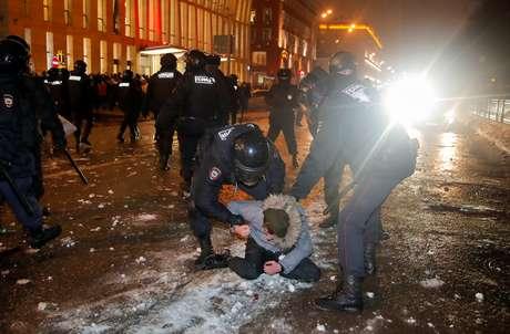 Polícia prende mais de 1.500 em protestos na Rússia em apoio ao opositor Alexei Navalny em Moscou, Rússia 23/01/2021. REUTERS/Maxim Shemetov