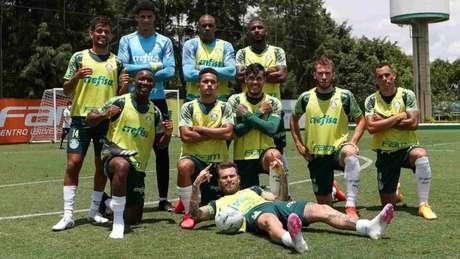 Os jogadores da SE Palmeiras, durante treinamento, na Academia de Futebol (Foto: Cesar Greco/Palmeiras)