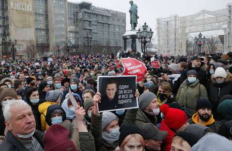 Protesto a favor de Alexei Navalny em Moscou