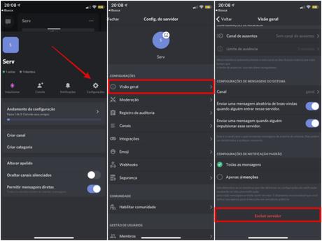 Como excluir um servidor no Discord pelo app para celular