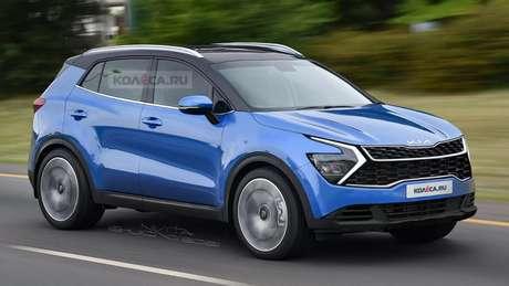 Nova geração do Kia Sportage terá uma grade maior do que a atual e faróis de desenho irregular.