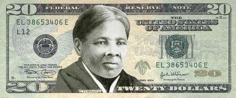 Montagem com rosto de Harriet Tubman em nota de 20 dólares