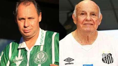 Evair foi campeão em 99, pelo Palmeiras, e Pepe foi bi em 62 e 63, pelo Santos (Divulgação Palmeiras e Santos)