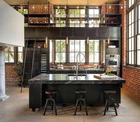 10. Cores sóbrias são as mais usadas na decoração de cozinha estilo industrial – Foto: Home Design Ideas
