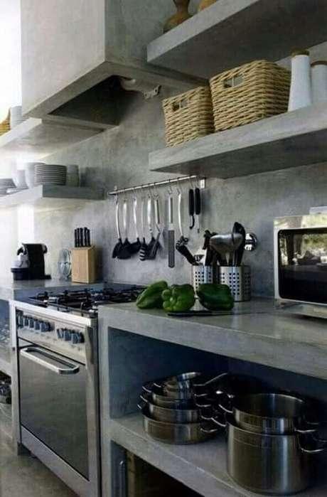 17. O cimento queimado também é muito usado na decoração de cozinha estilo industrial – Foto: Pinterest