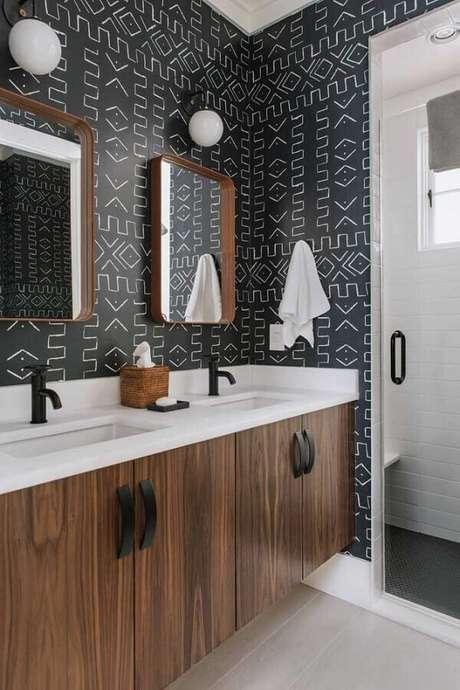 39. Papel de parede para banheiro – Via: Home Gashion Trend