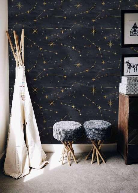 44. Papel de parede preto com estrelas douradas – Via: Etsy