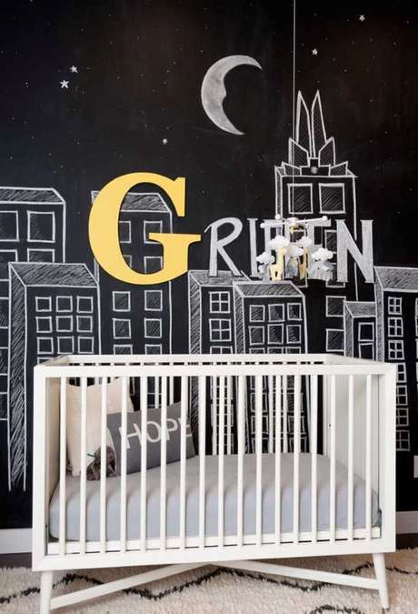 55. Papel de parede preto com efeito de lousa – Via: Pinterest