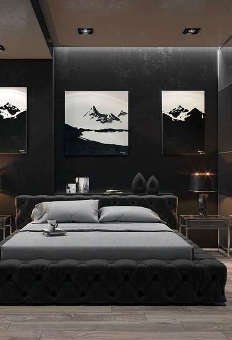 17. Papel de parede preto para quarto chique – Via: Pinterest