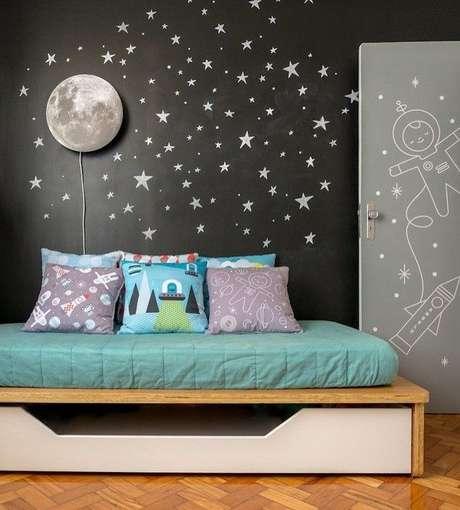 13. Quarto com papel de parede preto – Via: Pinterest