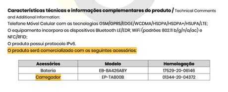 Galaxy A72 será vendido com carregador, diz certificado de homologação