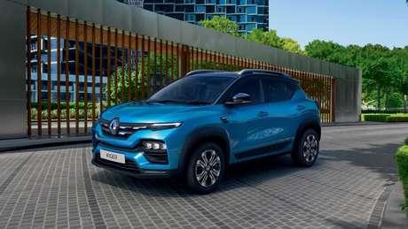 Renault Kiger conta com visual inspirado no Kwid reestilizado. Os faróis do modelo são bipartidos e contam com assinatura de led na parte superior.