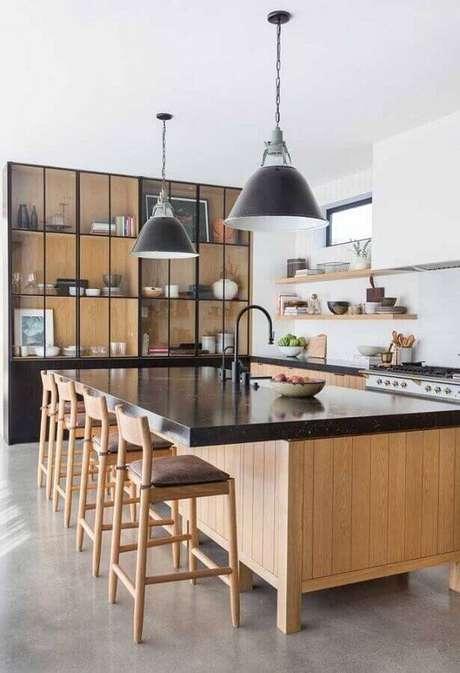 16. Revestimento para área gourmet com bancada moderna – Via: Pinterest