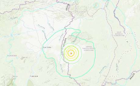 Terremoto de magnitude 5,7 foi registrado nos arredores de Layhem, Guiana, próximo àfronteira com Roraima.