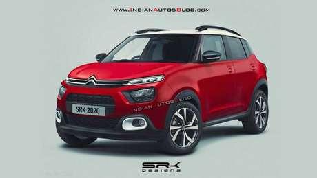 Projeção do que pode ser o novo SUV baseado no Citroën C3 feito por um site indiano.