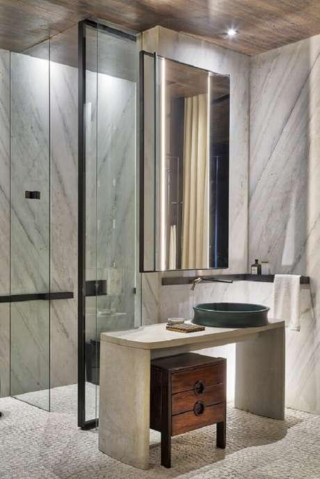 8. Projeto minimalista com cuba de apoio para banheiro em formato redondo. Fonte: Deca – CasaCor São Paulo 2018