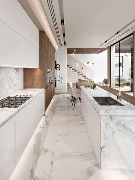 48. Piso que imita mármore na cozinha moderna – Via: Amazon