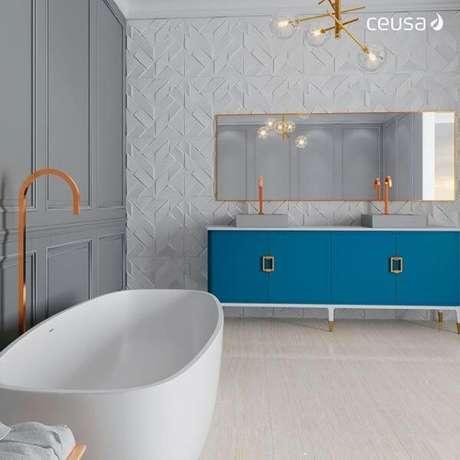 36. Piso branco no banheiro – Via: Ceusa Essence