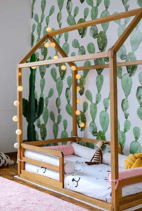 34. Cama de madeira infantil – Via: Casa Vogue