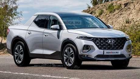 O site russo Kolesa fez uma projeção da Santa Cruz com a frente do novo Hyundai Tucson.