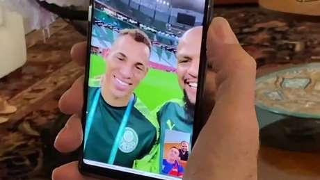 Trecho da conversa entre o presidente e os atletas do Palmeiras (Foto: Reprodução/Twitter)